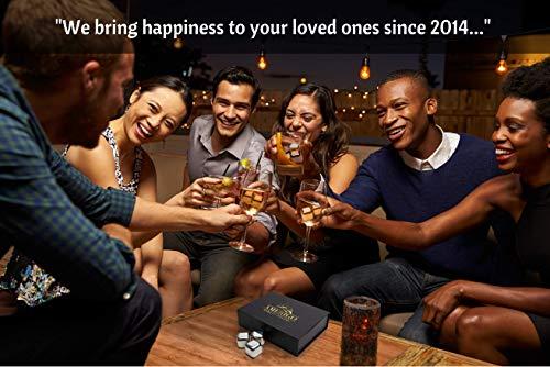 Exklusives Edelstahl Whisky Steine Geschenkset – Hohe Kühltechnologie - 8 Whisky Eiswürfel Wiederverwendbar - Edelstahl Eiswürfel - Besondere Geschenke für Männer - Edelstahl Kühlstein von Amerigo - 2