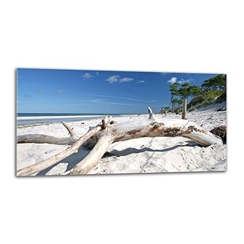 decorwelt Küchenrückwand Spritzschutz aus Glas 80x40 cm Wandschutz Herd Spüle Küchenspritzschutz Fliesenschutz Fliesenspiegel Küche Dekoglas Strand Weiß