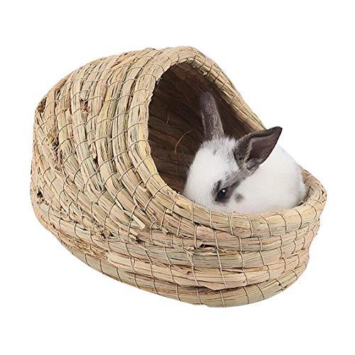 soundwinds Kaninchen-Gras-Haus Hamster Grass Nest Robustes handgewebtes Gras-Tunnel-Hütten-Schlafnest für Kaninchen-Hamster-Chinchilla-Meerschweinchen und andere kleine Heimtiere
