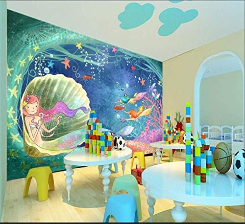 Decoración 3D Foto Wallpaper Mural De La Habitación Little Mermaid Shell World Photo Niños Habitación Sofá Tv Fondo No Tejido Hd Foto Fondo De Pantalla, 300Cmx210Cm