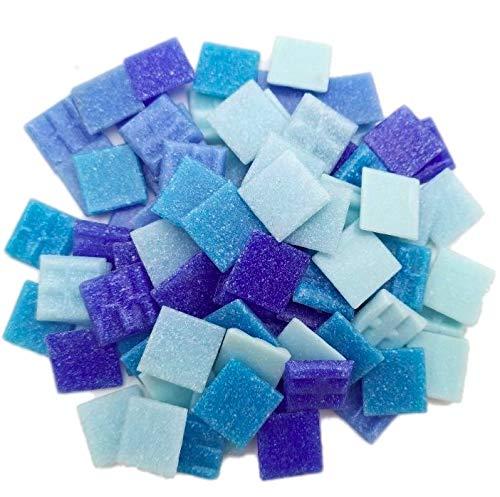 Armena Mosaikstein Mosaikfliesen Glas 2x2cm 250g (Circa 85 Stück) Blau gemischt