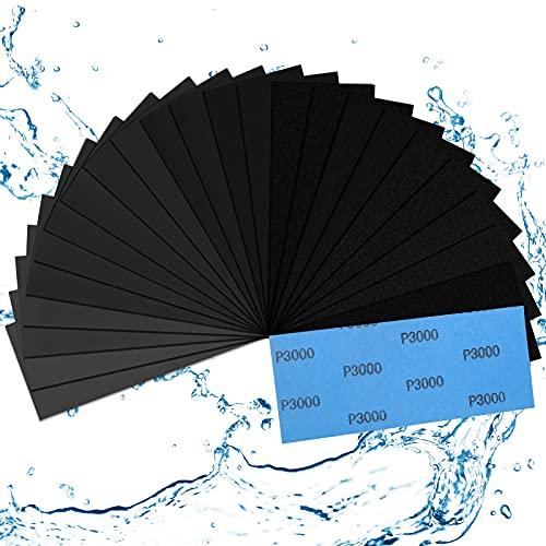 Schleifpapier 120 bis 3000 Körnung, 24 Stück Schleifpapier Holz, Schleifpapier Fein, Nassschleifpapier Set, Schmirgelpapier Nass & Trocken Fein, Wasserschleifpapier für...