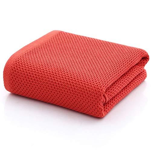 LWHOL Toallas de baño Baño Honeycomb Toallas de baño Algodón Espesor Jacquard Llanura Cuarto de baño Toalla Super Absorbente Suave Suave (Color : Red, Size : 70x140cm)