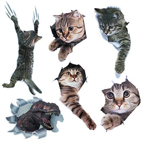 Lot de 6 stickers muraux amovibles en forme de chats 3D - Motif dinosaure - Pour chambre d'enfant, réfrigérateur, cuisine, toilettes, décoration murale