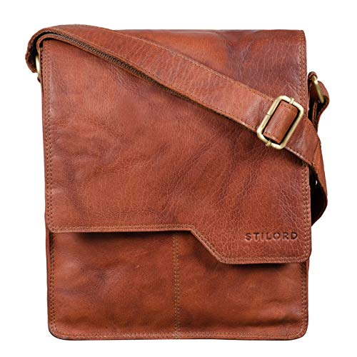 STILORD 'Sheffield' Umhängetasche Herren Leder für 13,3 Zoll MacBooks mittelgroße Schultertasche Herrentasche Vintage Messenger Bag aus Echtleder, Farbe:tisco - Cognac