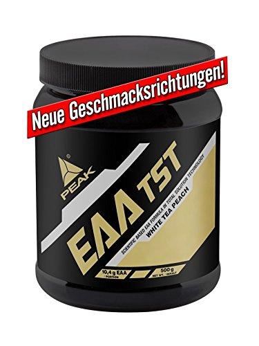 PEAK EAA TST 500 g - EAAs premium - Más del 49% de BCAA - White Tea Peach/Sabor blanco del melocotón del té