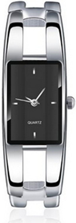BestDealUSA Fashionable Silver Fashion Alloy Case Bracelet Black Dial Women Quartz Watches