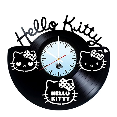Hello Kitty hecho a mano reloj de pared de disco de vinilo...