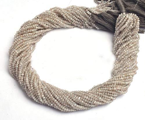 Shree_Narayani Cuentas sueltas de piedra lunar gris de calidad fina filamentos micro facetados Rondelle 2-3 mm 13 pulgadas para hacer joyas DIY manualidades encantos collar pulsera pendiente 1 hebra