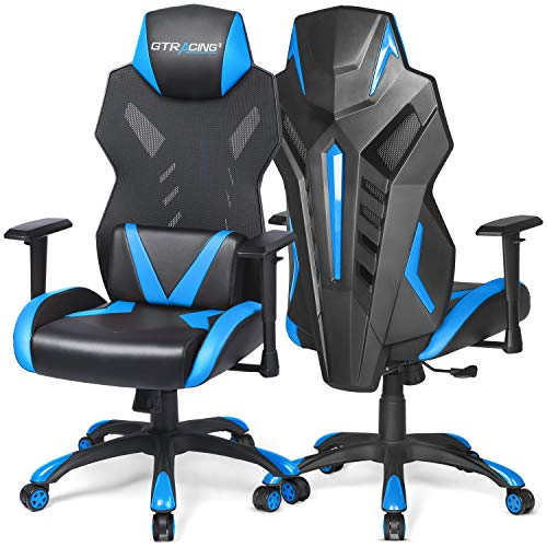 GTRACING Gaming Chair Mesh Racing Style Office Chair High Back Computer Desk Chair Ergonomic Swivel Chair – Adjustable Seat Cushion & Headrest- Breathable Back – Blue (1 Pack)