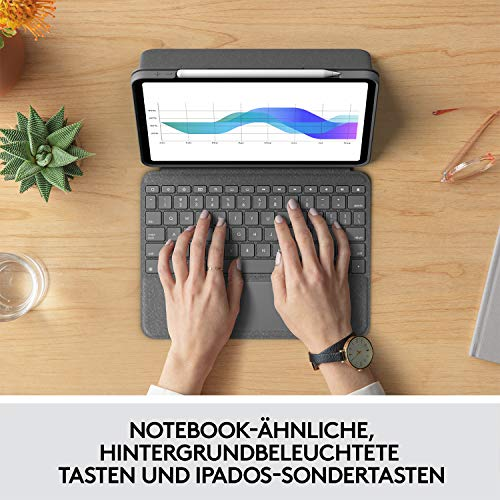 Logitech Folio Touch iPad Hülle Tastatur, Trackpad und Smart Connector für 11 Zoll iPad Pro (Modell: A1980, A2013, A1934, A1979, A2228, A2068, A2230, A2231) Deutsches QWERTZ Layout - Grafit