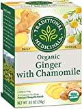 Traditional Medicinals Organic Ginger with Chamomile Herbal Tea, 16 Tea Bags (Pack of 6)