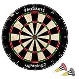 Dartscheibe Leightning 7 – Turniermaße: 451 mm Durchmesser, 38 mm Dicke – A-Klasse Sisal Bristle Round Wire Dartboard – Plus: Darts, Regelheft & Montagesatz kostenlos