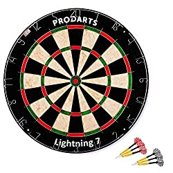Dartboard Leightning 7 - tournament dimensions: 451 mm diameter, 38 mm thickness - A-Class Sisal Bristle Round Wire Dartboard - Plus: Darts, rule booklet & assembly kit free of charge