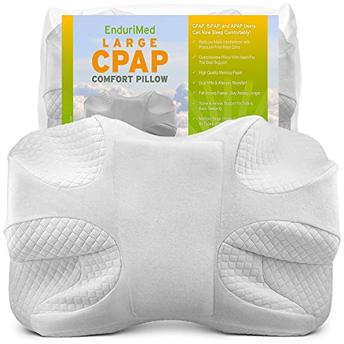 EnduriMed CPAP Pillow - Memory Foam Design Reduces Face Mask Pressure & Air Leaks - 2 Head Rests for Max Comfort - Removable Foam Insert to Adjust Thickness - Stomach, Back, & Side Sleepers