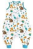 Chilsuessy Saco de dormir para bebé con pies, 2 tog, para todo el año, sin mangas, con piernas, para bebés, niños, bosques, animales, 100 cm, altura del bebé 110-120 cm