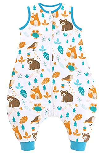 Chilsuessy Saco de dormir para bebé con pies, 2 tog, para todo el año, sin mangas, con piernas, para bebés, 80 cm, altura del bebé 90 – 100 cm