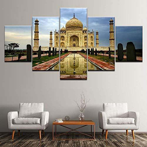 Canvas schilderij Taj Mahal een internationale schat 5 stuks muurkunst schilderij modulaire behang poster print huis decoratie 40x60cmx2,40x80cmx2,40x100cmx1 Met frame.