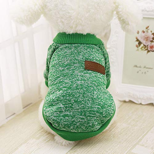 Idepet Pet Dog Classic Knitwear Sweater, Fleece Coat for Small,Medium Dogs,Warm Pet Dog Cat Clothes,Soft Puppy Customes (XXL, Green)