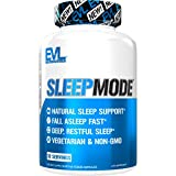Evlution Nutrition Sleep Mode, Fall Asleep Faster, Melatonin, GABA, Valerian Root & More, Natural Aid for Deeper Sleep & Relaxation, 60 Vegetarian Capsules, 30 Servings