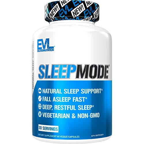 Evlution Nutrition Sleep Mode, Fall Asleep Faster, Melatonin, GABA, Valerian Root & More, Natural Aid for Deeper Sleep & Relaxation, 60 Vegetarian Capsules, 30 Servings