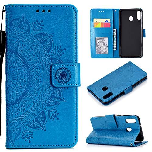 HTDELEC Samsung Galaxy M20 Hülle,Ultra Slim Flip Hülle Blau Etui mit Kartensteckplatz & Magnetverschluss Leder Wallet Klapphülle Book Case Bumper Tasche für Samsung Galaxy M20(T-Blau)