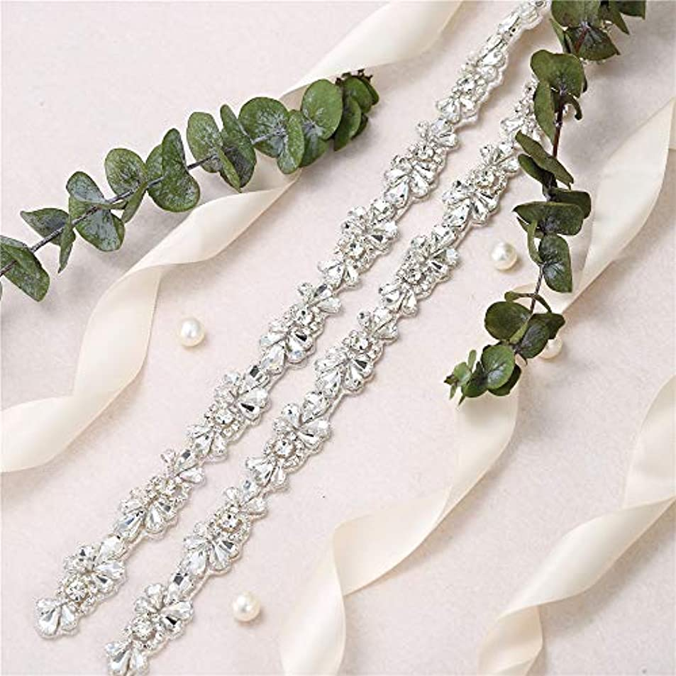 Bridal Wedding Dress Applique,Crystal Rhinestone Belt,Wedding Sash,Applique Beaded Decorations Handcrafted Sparkle Sewn or Hot Fix for Women Gown Evening Prom Sash Clothes (Silver100) mobjzfex7700