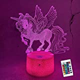 Lampeez Kids 3D Unicorn Night Light Optical Illusion Lamp with 16 Colors Remote Control Changing Birthday Xmas Valentine's Day Gift Idea for Boys and Girls
