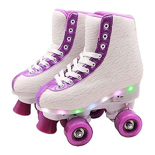 GGOODD 4 Ruedas LED Patines de Ruedas Zapatos con Ruedas para Principiantes Automática De Skate Zapatillas Patines de Dos Hileras Zapato de Rodillo de Patada para Mujeres