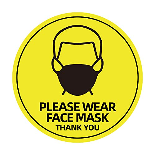 5 Pack 8' Please Wear Face Mask Sign Sticker, Public Safety Decal, Face Cover Required Marker, Weatherproof Vinyl Entry Reminder Label for Wall Door Glass Signage