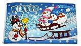 Fahne/Flagge Winter Schneemann Schlitten 90 x 150 cm