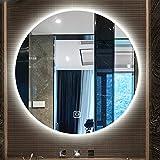 B&G Espejo de baño de baño, Colgante de Pared Redonda Redonda Inteligente con lámpara, Espejo de baño de luz Anti-Niebla...