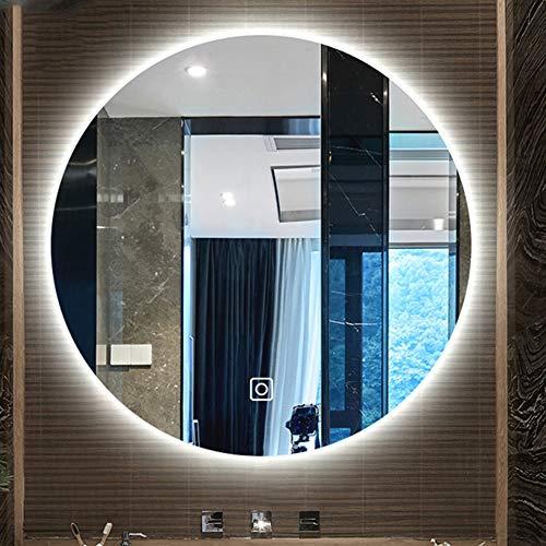 B&G Cuarto De Baño Espejo De Baño, Rondando Llevado Elegante En La Pared con Lámpara, Anti-Fog Bicolor Luz Espejo De Baño,50X50CM