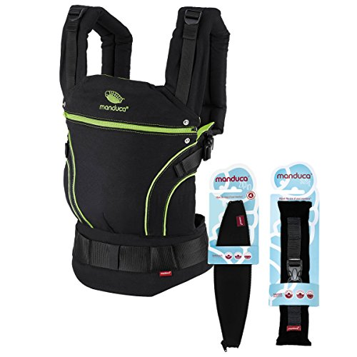 manduca First Baby Carrier > BlackLine ScreaminGreen < Mochila Portabebes más Accesorios Size-It & Zip-In Ellipse, Algodon Organico, para Bebes de 3,5 a 20kg (Set Recién Nacidos/negro-verde neón)