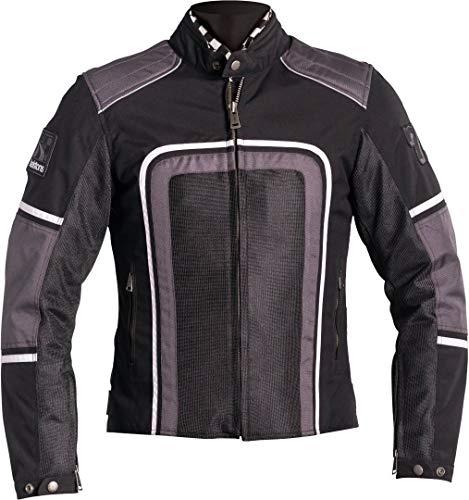 Helstons Austin Motorrad-Jacke für Herren, Mesh-Stoff, Schwarz/Grau/Weiß, Größe L