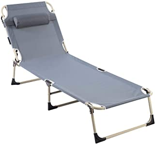 Portable Lounge Chair Chaise Bed Adjustable Reclining Positions Steel Frame Folding Cot with Removable Pillow for Outdoor Camping Beach Garden Patio Recliner(Gray)