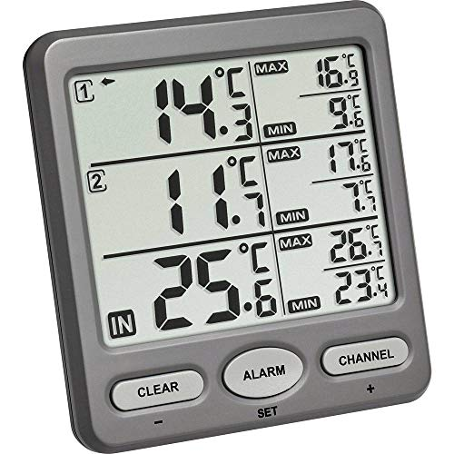 TFA Dostmann Trio Funk-Thermometer, mit 2 Sendern, wasserdichter Kabelsensor, ideal für Kühlgeräte/Aquarium/Pool