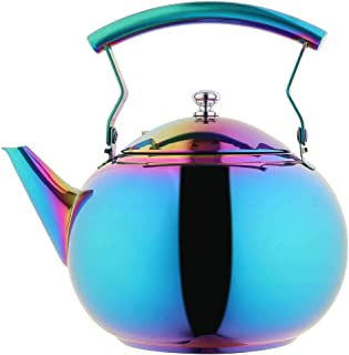 OMGard Tea Kettle with Infuser Loose Leaf Rainbow Teapot 2 Liter Tea Coffee Pot Stainless Steel Strainer Colorful Teakettle for Stovetop Induction Stove Top Boiling Water Camping 2 Quart / 68 Ounce