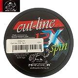 Mantikor Cut Line Spin 135m 12-Fach Spiral geflochtene Schnur hellgrün- Spinnschnur, Durchmesser/Tragkraft:0.15mm / 11kg