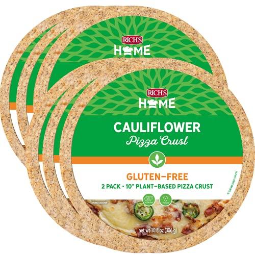 Rich's Home Cauliflower Pizza Crusts, 6 Crusts, Gluten Free, Vegan, 10' Flatbread