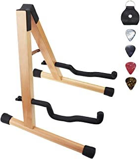 Hidear Wood Guitar Stand Solid Wood Folding A-Frame Guitar Stand for Acoustic Guitars Bass and Electric Guitars