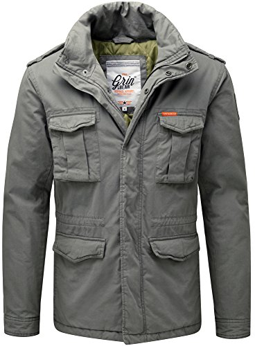 Grin&Bear Herren Slim fit Vintage Feldjacke grau2 Größe XL AK70
