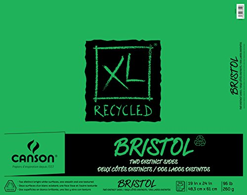 Canson XL Series Recycled Bristol Paper Pad, Dual Sided Smooth and Vellum for Pencil, Marker or Ink, Fold Over, 96 Pound, 19 x 24 In, White, 25 Sheets