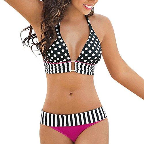 LUCKDE Frauen Einfarbig Bandage Bikini Set Brasilianische Badebekleidung Beachwear Badeanzug Damen Bademode Push Up Bikini Set Zweiteilige Badeanzug Strandkleidung Bandeau Strandmode Sport