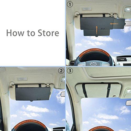 Car Visor Extender TFY Anti-Glare Sun Visor Extender Window Sunshade and UV Rays Blocker 2 Pieces Black