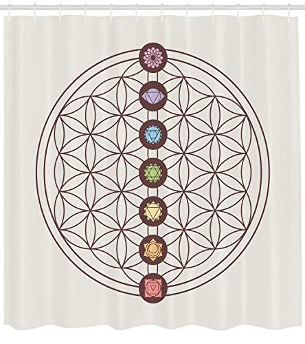 Blume des Lebens Duschvorhang, Heilige Geometrie unter dem Motto Verschiedene Formen Dreiecke Kreise Quadrate Chakra Zen, Stoff Bad Dekor Set mit Haken, Multicolor