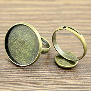 MEWME 18pcs Polpular Adjustable Ring Setting Fit 18mm Round Resin Cabochon Stone Brass Cameo Bezels Tray Creative Gift Handmade Jewelry Materials H260:Maskedking