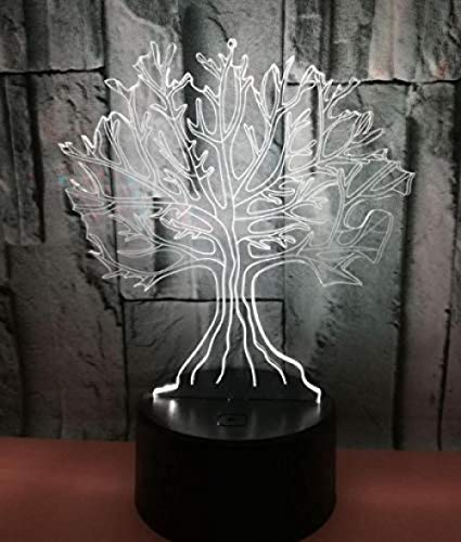 3D LED Illusion Light Big Tree 3D Illusion Night Light Lámpara de ilusión 3D LED Night Light 7 colores cambiantes Touch Night Light para bebé Dormitorio Decoración Regalo de los niños