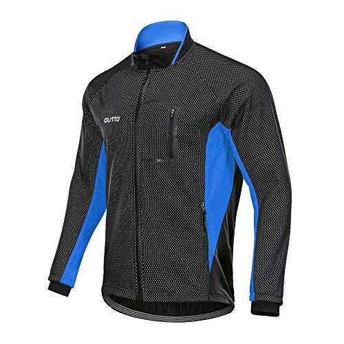 Winter Windproof Fahrradjacke, Herren Radjacken Für Herren MTB Mountainbike Jacke Visible Reflective Fleece Warm Jacket (4XL,Blau)