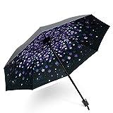 DORRISO Vogue Mujer Plegable Paraguas Mini Paraguas y Sombrillas Antviento Anti-UV Impermeable Ligero Viaje Paraguas Púrpura